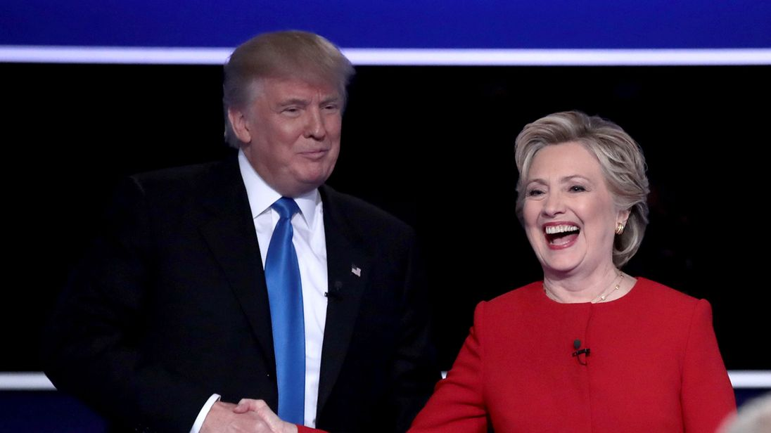 Donald Trump and Hillary Clinton shake hands after the first Presidential Debate