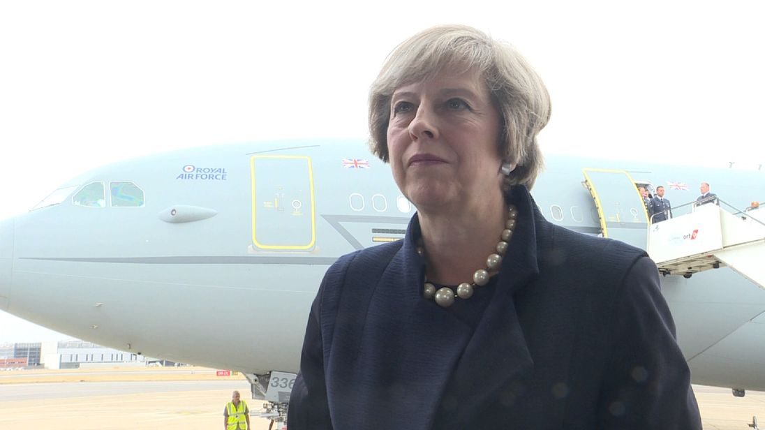 Theresa May speaks to Sky News before heading to China for the G20 summit