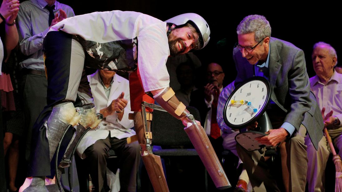 Thomas Thwaites receives his Ig Nobel Prize for emulating goats, using prosthetic extension of his limbs