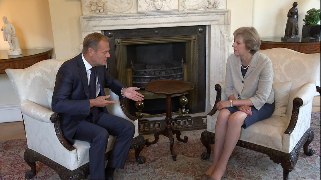 Donald tusk and Theresa May