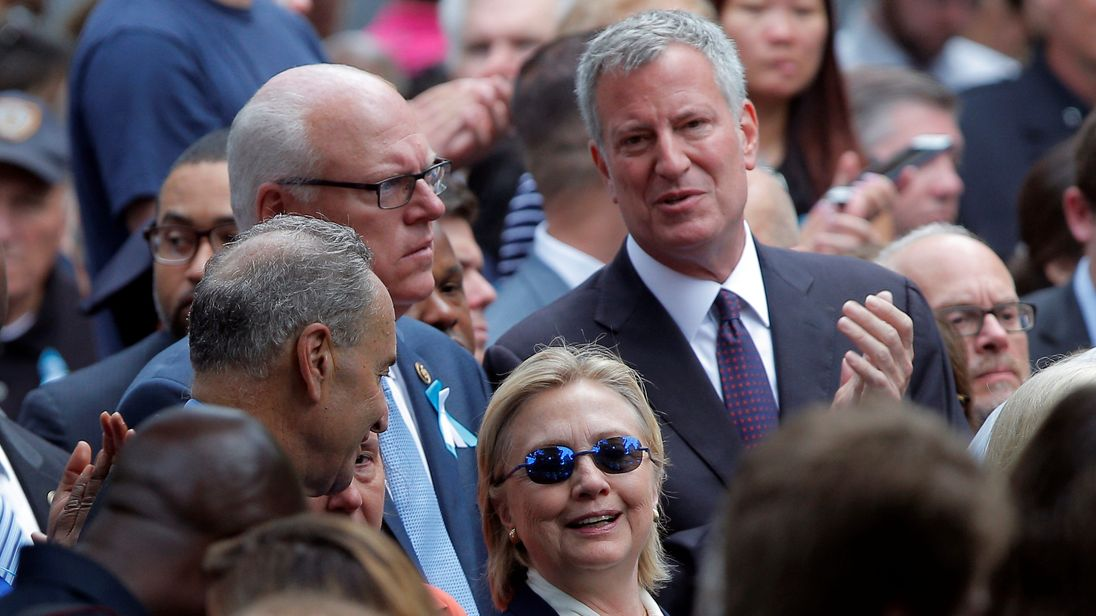 Hillary Clinton attends a ceremony to mark the 15th anniversary of the 9/11 attacks