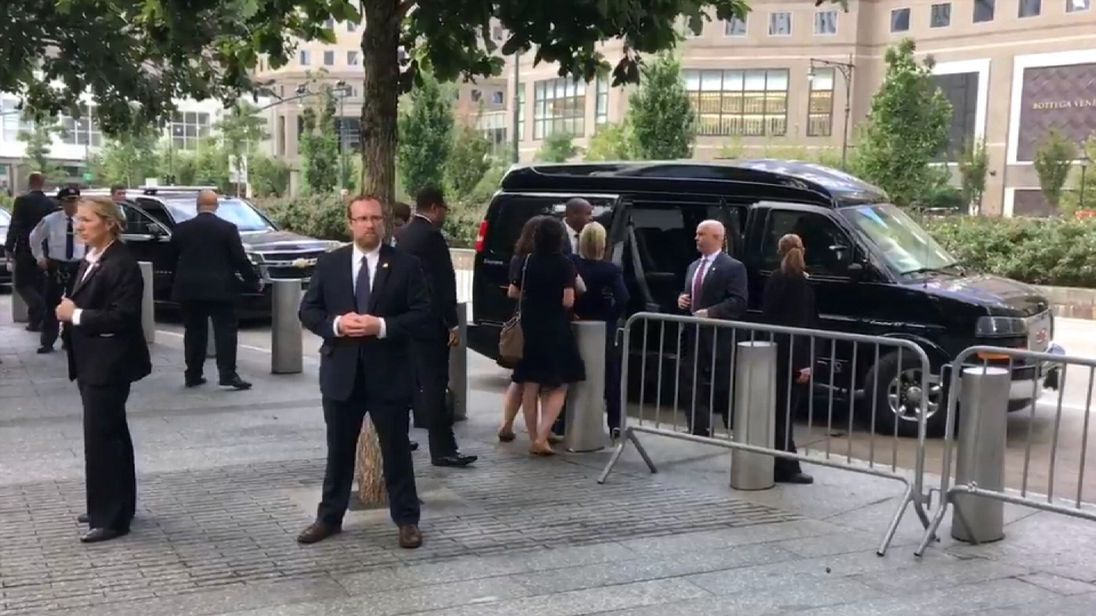 Hillary Clinton appeared to stumble while leaving the event (Pic: Twitter / @zgazda66