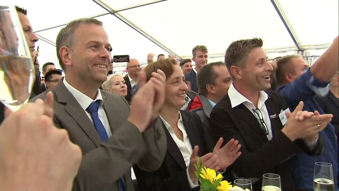 Members of the AfD party celebrate election successes in Germany