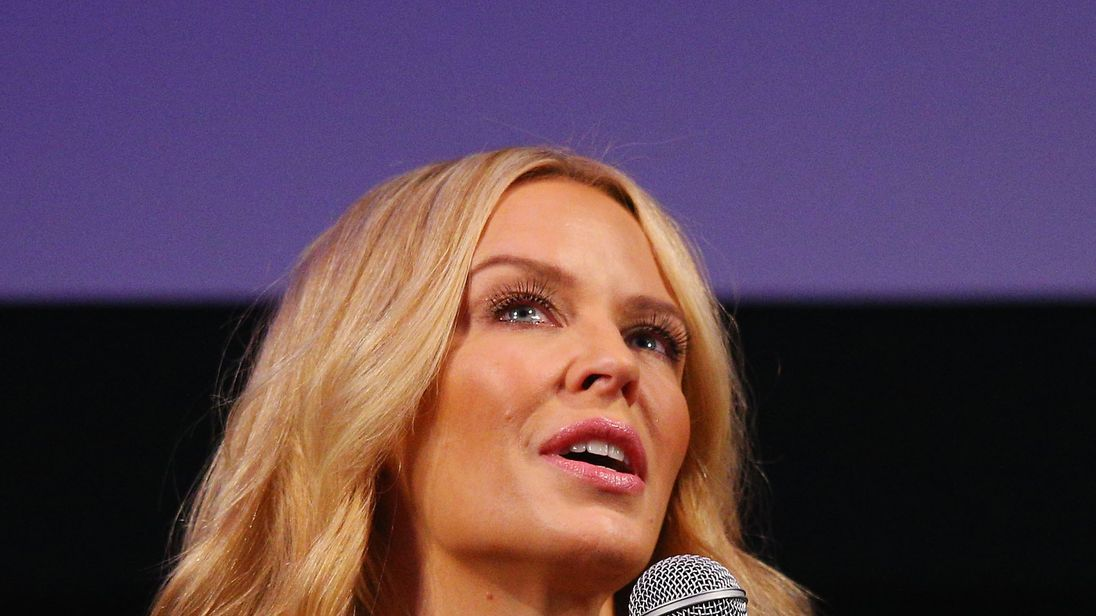 Kylie Minogue speaks during the opening of the Kylie On Stage Exhibition at Melbourne Arts Centre