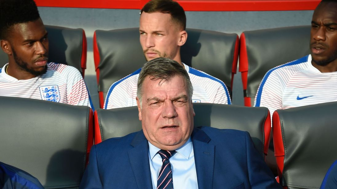 Sam Allardyce sits on the England bench during World Cup 2018 qualifier with Slovakia
