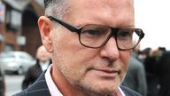 Paul Gascoigne arriving at court in Dudley