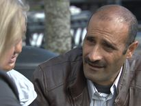 Hussein Ejrf, a refugee from Syria, talks to Sky's Lisa Holland