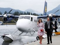 William and Kate arrive by float plane in Vancouver, British Columbia