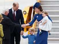 Catherine with Princess Charlotte greets David Johnston, Governor General of Canada