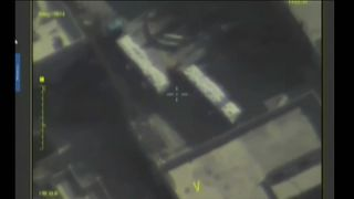 Footage from a drone said to have been taken shortly before a UN aid convoy is blasted.