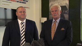 Mike Ashley major shareholder at Sports Direct (l) with chairman Keith Hellawell (r)