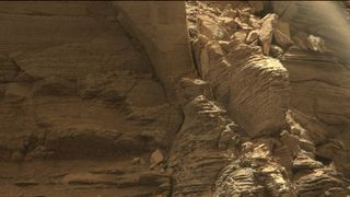 A shot from NASA's Curiosity Mars rover shows finely layered sandstone on Mount Sharp. Pic: NASA/JPL-Caltech/MSSS