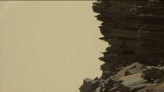 Curiosity's Mast Camera picked up this image of a hillside outcrop. Pic: NASA/JPL-Caltech/MSSS