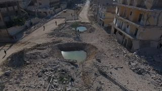 Drone footage shows the damage in part of Aleppo