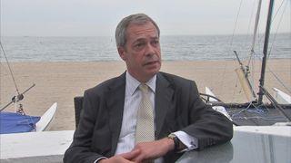 Nigel Farage during an interview with Darren McCaffrey in Bournemouth
