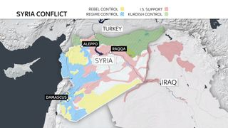 A map showing the latest areas of territorial control in Syria