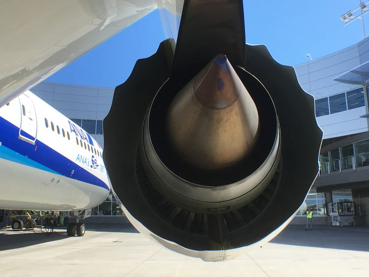 A Rolls-Royce engine is seen on a Boeing 787-9 Dreamliner owned by ANA Holdings in Everett, Washington state