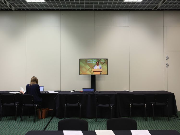 Quieter than years gone by: the press room at the Lib Dem conference