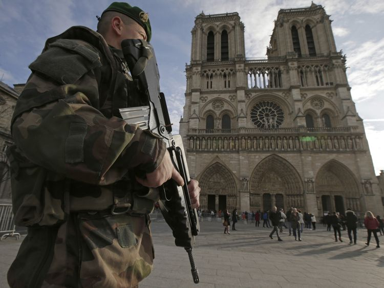 A soldier outside Notre Dame cathedral amid heightened security in 2015