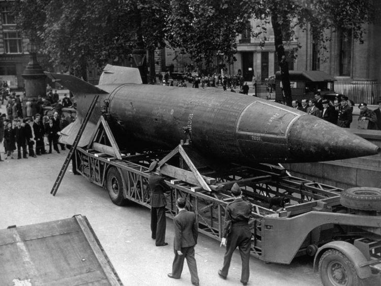 A V2 rocket on display in Trafalgar Square