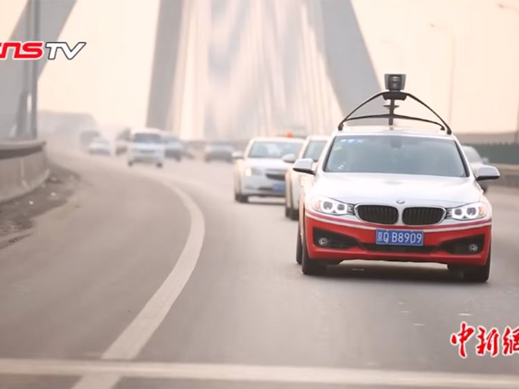 Baidu's prototype driverless system on a BMW in China