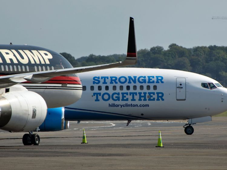 The candidates' planes at the airport in Arlington, Virginia