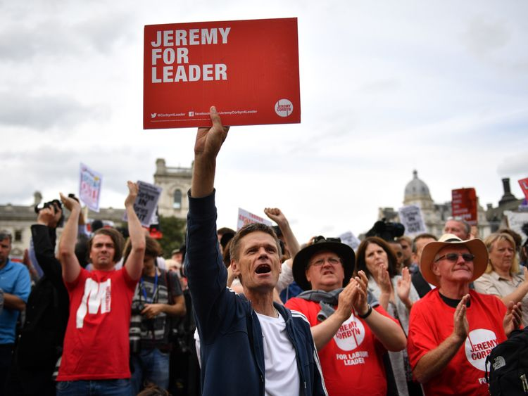 Momentum supporters hold a 'Keep Corbyn' rally in London