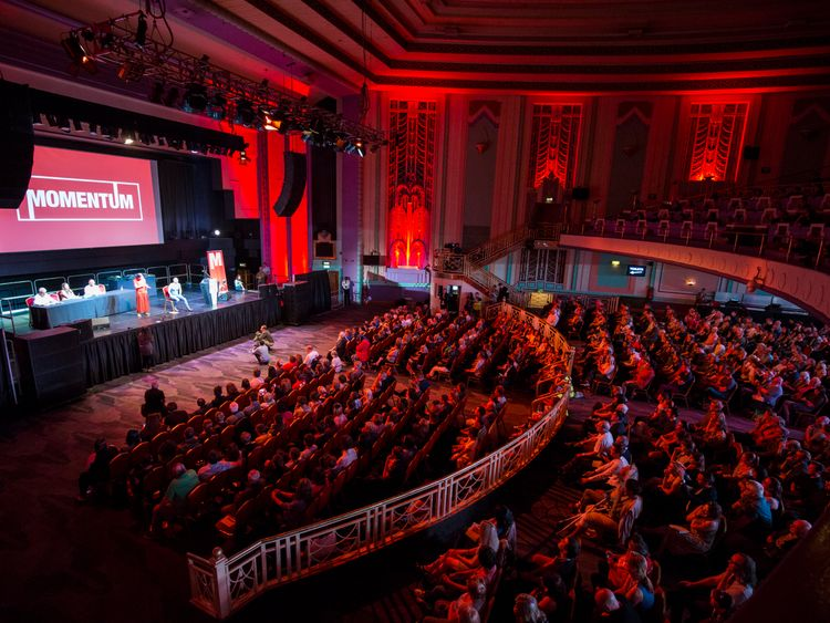 Momentum stages a rally in support of Jeremy Corbyn