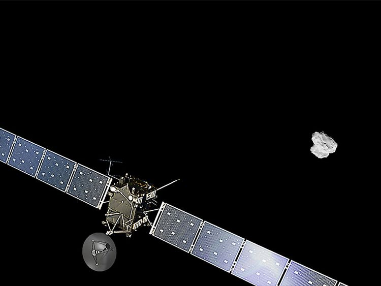 Artist's impression of the Rosetta spacecraft approaching comet 67P/Churyumov-Gerasimenko