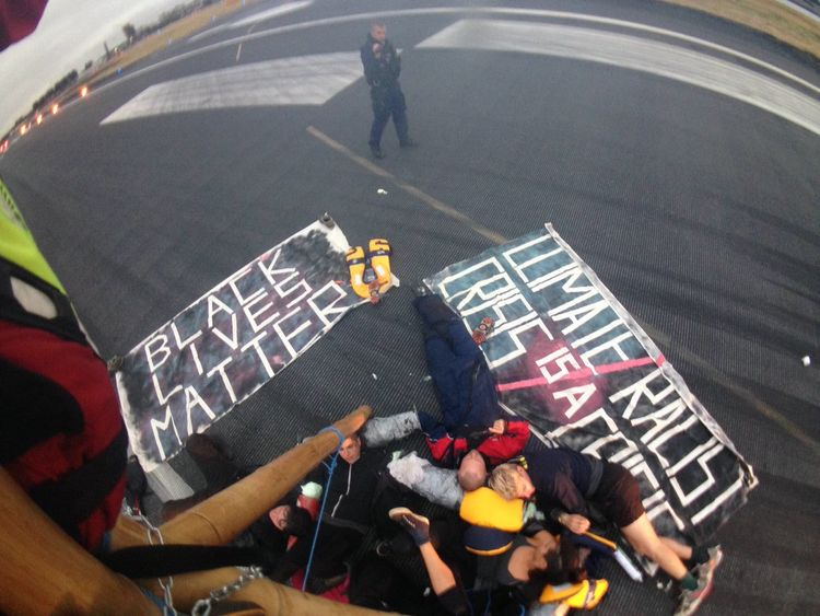 "Protesters ""occupy"" the airport runway"