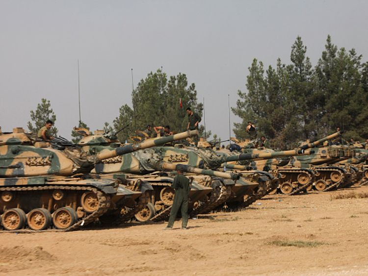 Turkish soldiers prepare for a military operation at the Syrian border. File Pic