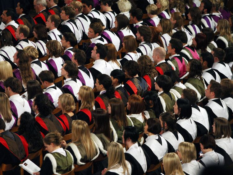 University students at a graduation ceremony. File picture