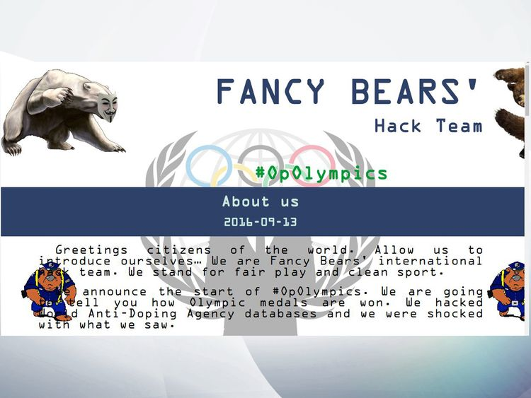 The website of Fancy Bears