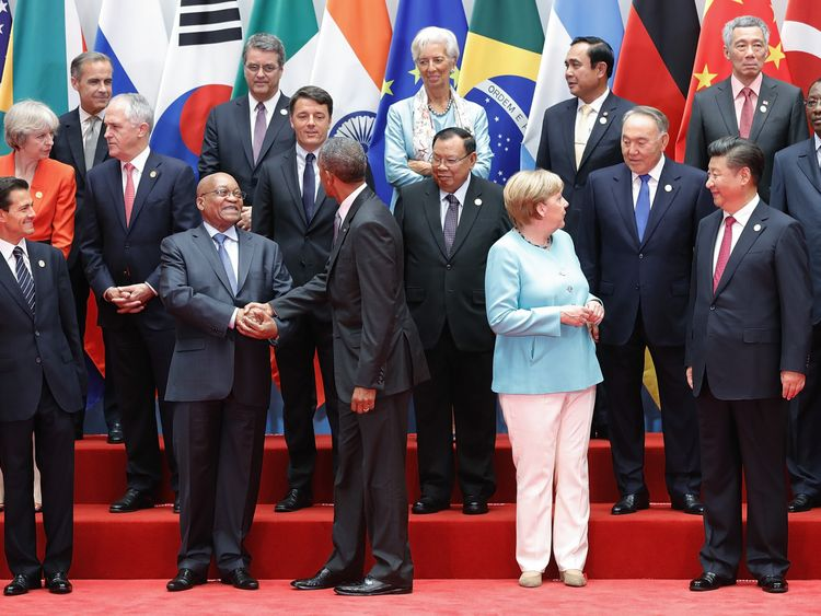 World leaders meet at the G20 summit in Hangzhou, China