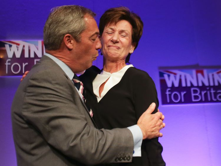 Nigel Farage embraces Diane James