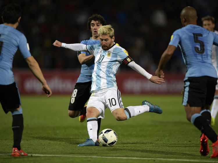 Argentina's Lionel Messi shoots to score against Uruguay during the FIFA World Cup 2018 qualifier football match between Argentina and Uruguay in Mendoza,
