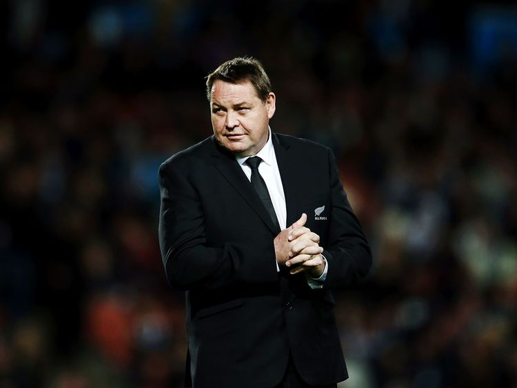 Head Coach Steve Hansen looks on prior to the Rugby Championship match between the All Blacks and Argentina