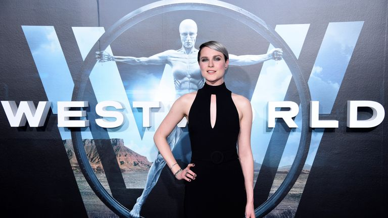 Cast member Evan Rachel Wood attends the Hollywood premiere of upcoming sci-fi TV series Westworld, which is being shown on Sky Atlantic from October
