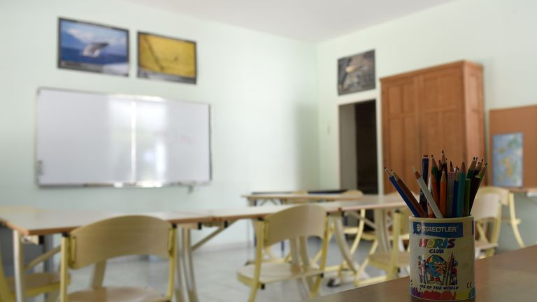 A classroom in the Pontourny centre, France's first deradicalisation centre, in Beaumont-en-Veron