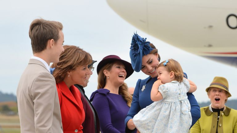 Kate and Charlotte as they arrive in Victoria, Canada
