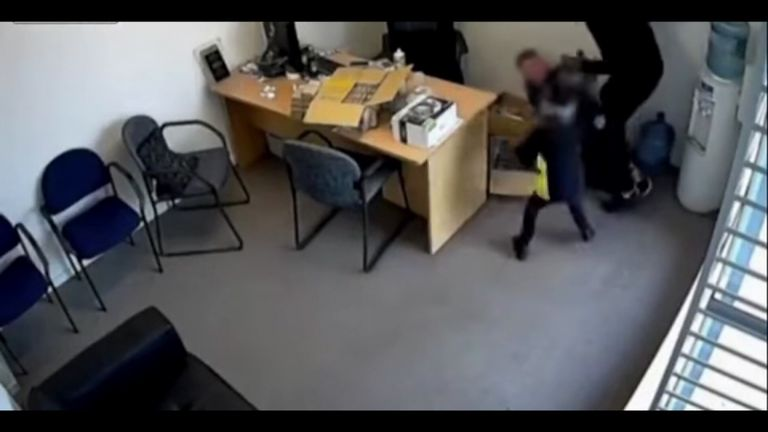 Sarah goes to help a shop worker who is being attacked