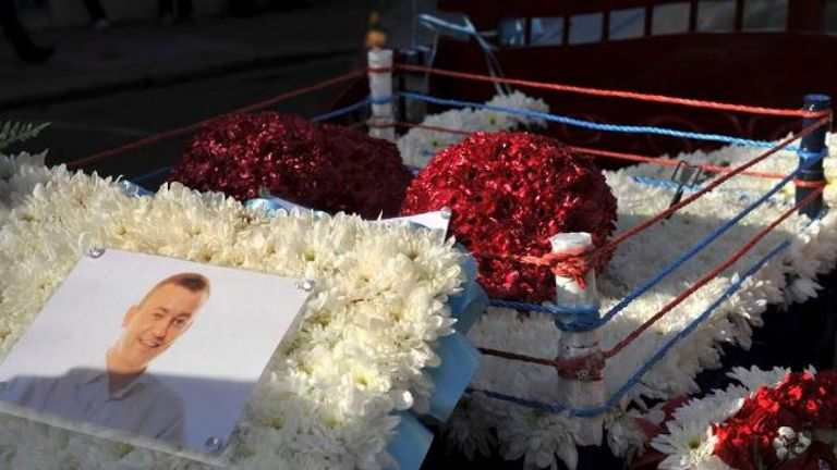 A tribute at the funeral of David Byrne, who was was killed during a boxing weigh-in in Dublin