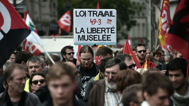 French rail workers and air traffic controllers walk out during a strike in May