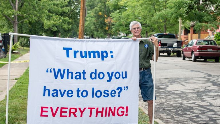 A man in Cleveland makes clear his opinion on Donald Trump