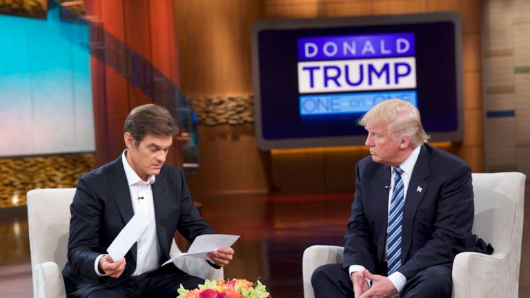 Donald Trump talks about his health with Dr Mehmet Oz on US TV. Pic: Sony Pictures Television
