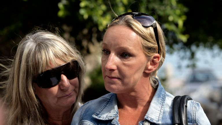 KOS, GREECE - OCTOBER 22: Kerry Grist (C) and her mother Christine Needham make a statement to the media as British police continue the search for Mrs Grist's son Ben Needham, who went missing 21 years ago, on October 22, 2012 in Kos, Greece. The toddler from Sheffield was 21 months old when he vanished on the Greek island in July, 1991. Specialist British search teams and Greek police started excavating the site last week. (Photo by Milos Bicanski/Getty Images)