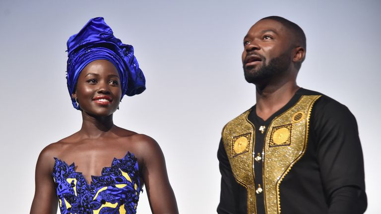 """Lupita Nyong'o (L) and David Oyelowo at the world premiere of Disney''s """"Queen Of Katwe"""" as part of the 2016 Toronto Film Festival"""