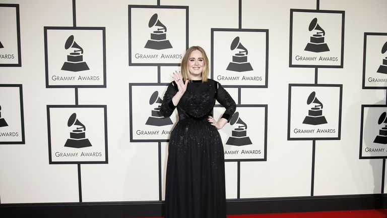 Adele arrives at the 58th Grammy Awards in Los Angeles