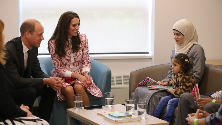 The Duke and Duchess of Cambridge with Syrian refugees Yosra Alamahameed and her daughter, Reemus, during their visit to the Immigrant Services Society of British Columbia New Welcome Centre