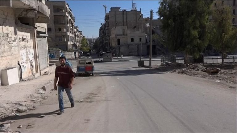 Despite the ceasefire the streets of Aleppo are all but deserted